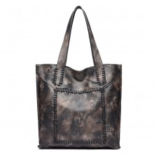 1826-MISS LULU TWO PIECE TOTE AND CROSS BODY BAG SET DARK GREY