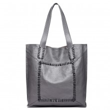 1826-MISS LULU TWO PIECE TOTE AND CROSS BODY BAG SET GREY