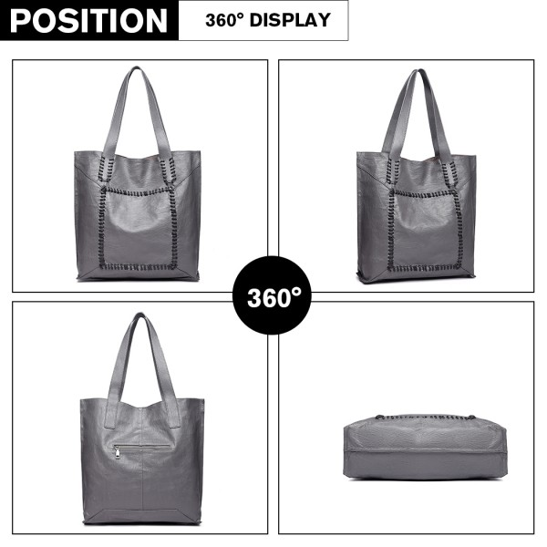 1826 - Miss Lulu Two Piece Tote and Cross Body Bag Set - Grey