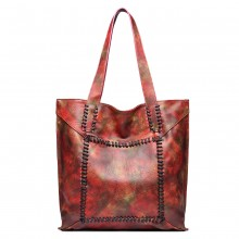1826 - Miss Lulu Two Piece Tote and Cross Body Bag Set - Maple Red