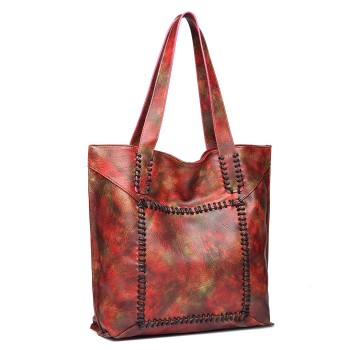 1826-MISS LULU PU LEATHER 2 PCS SET HANDBAG TOTE SHOULDER BAG MAPLE RED