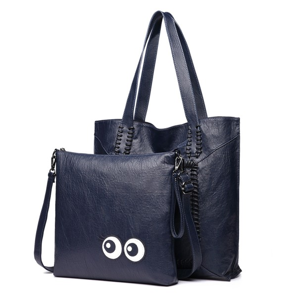 1826 - Miss Lulu Two Piece Tote and Cross Body Bag Set - Navy