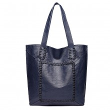 1826-MISS LULU TWO PIECE TOTE AND CROSS BODY BAG SET NAVY