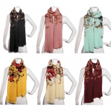 S6416 - Ladies Winter Large Soft Warm Wrap New Peony Flower Shawl Scarf