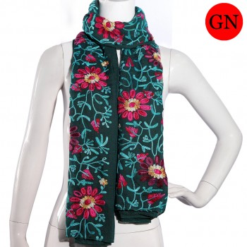 S6417-ladies new stylish embroidered cotton shawl scarf