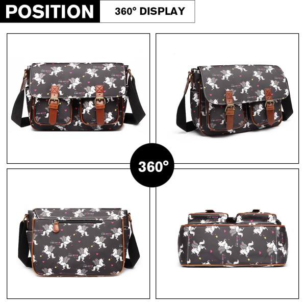 L1107 UN - Miss Lulu Matte Oilcloth Unicorn Satchel - Black