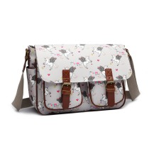 L1107 UN- Miss Lulu Matte Oilcloth Unicorn Satchel- Grey