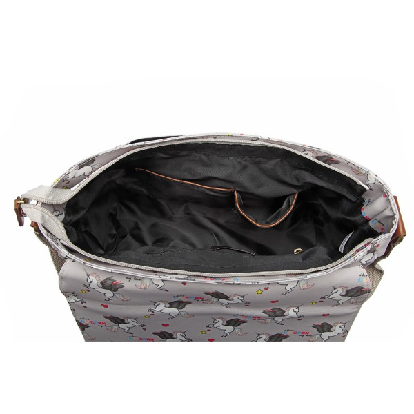 L1107 UN - Miss Lulu Matte Oilcloth Unicorn Satchel - Grey