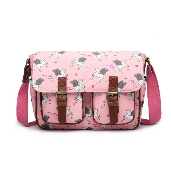 L1107 UN - Miss Lulu Matte Oilcloth Unicorn Satchel - Pink