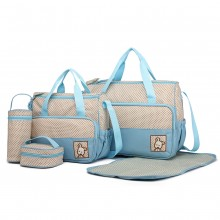 9026-MISS LULU POLYESTER 5PCS SET MATERNITY BABY CHANGING BAG DOT BLUE