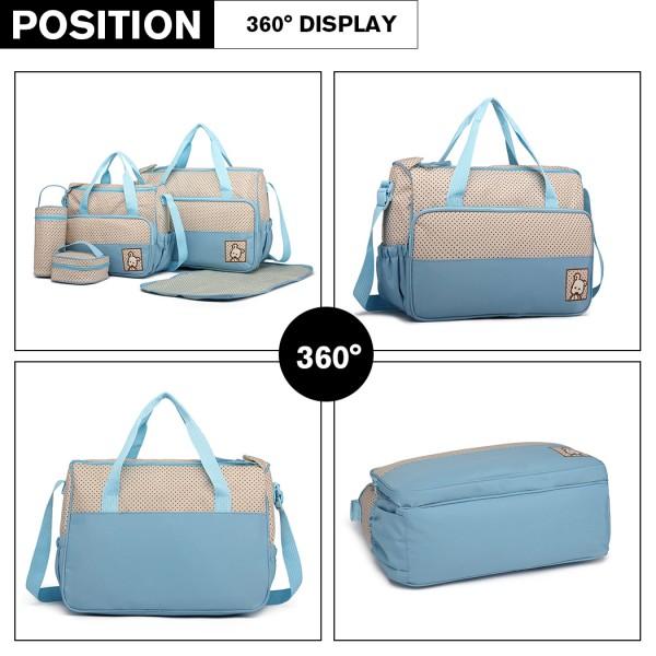 9026 - MISS LULU POLYESTER 5PCS SET MATERNITY BABY CHANGING BAG DOT - BLUE