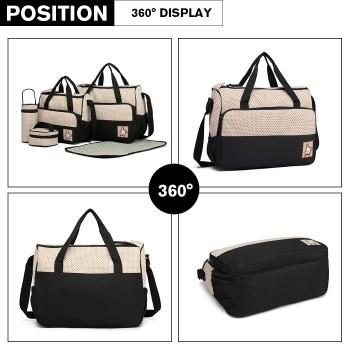 9026-MISS LULU POLYESTER 5PCS SET MATERNITY BABY CHANGING BAG DOT BLACK