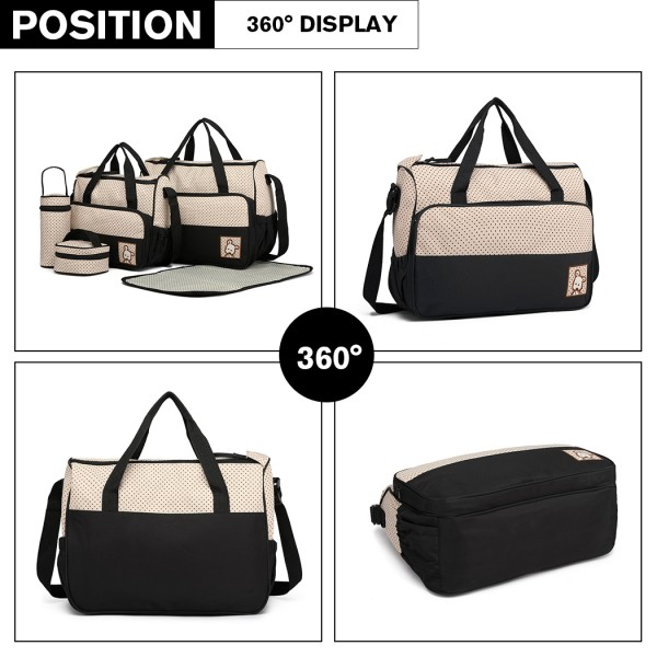 9026-MISS LULU POLYESTER 5PCS SET MATERNITY BABY CHANGING BAG DOT BLACK