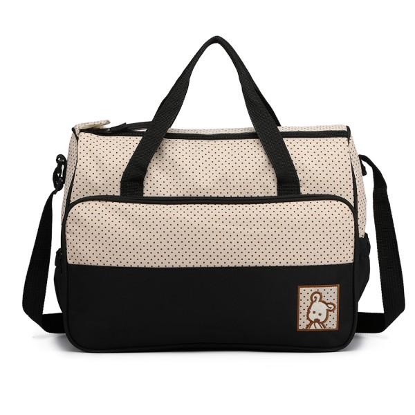 9026 - Miss Lulu Polyester 5 Pcs Set Maternity Baby Changing Bag Dot - Black