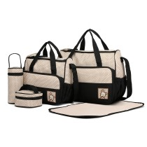9026- miss LULU POLYSTER 5PCS SET MATERNITY BABY ZMIENIAJĄCE BAG DOT- BLACK