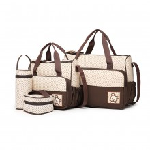 9026 - Miss Lulu Polyester 5 Pcs Set Maternity Baby Changing Bag Dot - Brown
