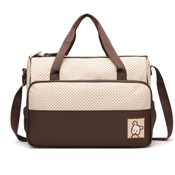 9026 - MISS LULU POLYESTER 5PCS SET MATERNITY BABY CHANGING BAG DOT - BROWN