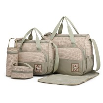 9026-MISS LULU POLYESTER 5PCS SET MATERNITY BABY CHANGING BAG DOT GREY