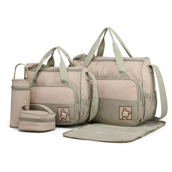 9026-MISS LULU POLYESTER 5PCS SET MATERNITY BABY CHANGING BAG DOT GREY