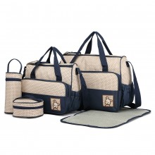 9026-MISS LULU POLYESTER 5PCS SET MATERNITÉ BÉBÉ CHANGEMENT SAC DOT NAVY