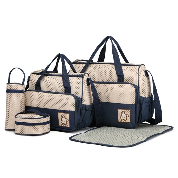 9026 - MISS LULU POLYESTER 5PCS SET MATERNITY BABY CHANGING BAG DOT - NAVY