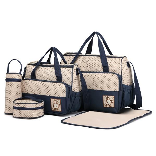 9026 - Miss Lulu Polyester 5 Pcs Set Maternity Baby Changing Bag Dot - Navy