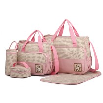 9026-MISS LULU POLYESTER 5PCS SET MATERNITY BABY CHANGING BAG DOT PINK