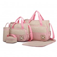 9026 - MISS LULU POLYESTER 5PCS SET MATERNITY BABY CHANGING BAG DOT - PINK