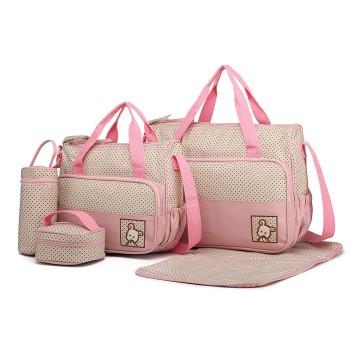 9026-MISS LULU POLYESTER 5PCS SET MATERNITY BABY CHANGING BAG DOT PINK
