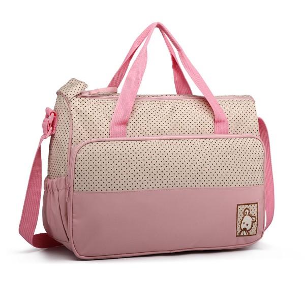 9026 - MISS LULU POLYESTER 5PCS SET MATERNITY BABY CHANGING BAG DOT - PINK