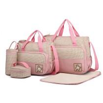 9026 - Miss Lulu Poliester 5 sztuk zestaw Torba do przewijania niemowląt Dot - różowy