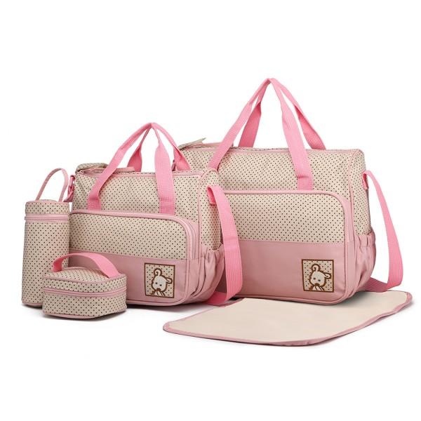 9026 - Miss Lulu Polyester 5 Pcs Set Maternity Baby Changing Bag Dot - Pink