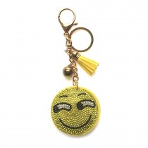 ACCF1- Crystal Emoticons Yellow Tassel Keychain Handbag Charm Decor Keyring