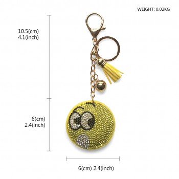 ACCF2- Crystal Emoticons Yellow Tassel Keychain Handbag Charm Decor Keyring