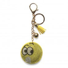 ACCF2 - Crystal Emoticon Yellow Tassel Handbag Charm Keyring