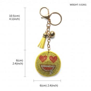 ACCF3- Crystal Emoticons Yellow Tassel Keychain Handbag Charm Decor Keyring
