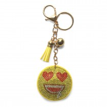 ACCF3- Crystal Emoticons Yellow Tassel Keychain Bolso Charm Decor Keyring