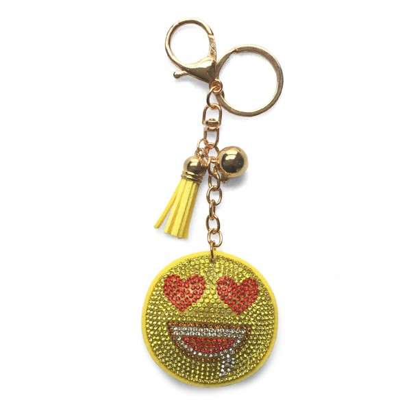 ACCF3 - Crystal Emoticon Yellow Tassel Handbag Charm Keyring
