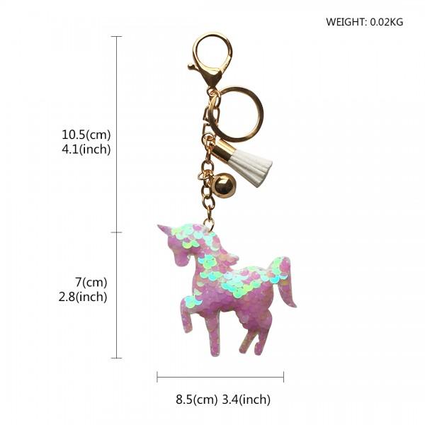 ACC- Sequin Unicorn Tassel Handbag Charm Keyring - Beige