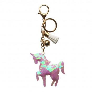 ACC- Glitter Unicorn Tassel Keychain Handbag Charm Decor Keyring Beige