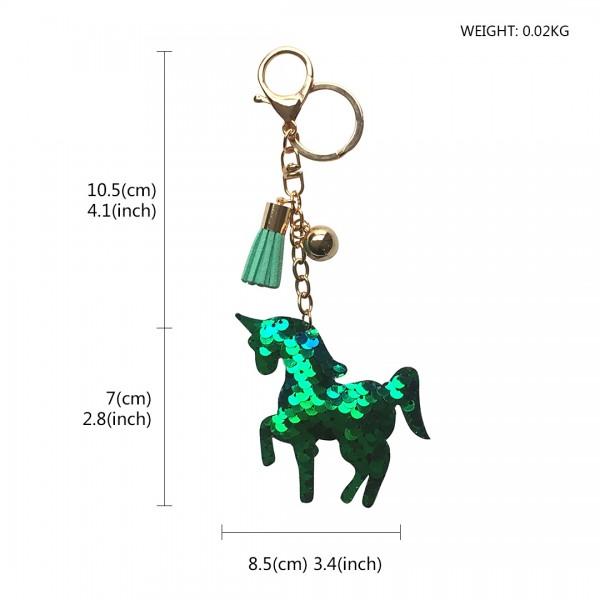 ACC- Sequin Unicorn Tassel Handbag Charm Keyring - Green