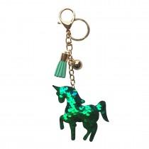 ACC- Glitter Unicorn Tassel Keychain Bolso Charm Decor Llavero Verde