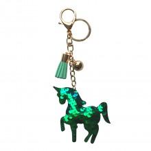 ACC - Glitzer Einhorn Tassel Keychain Handtasche Charm Decor Schlüsselanhänger Grün