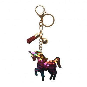 ACC- Glitter Unicorn Tassel Keychain Handbag Charm Decor Keyring Red