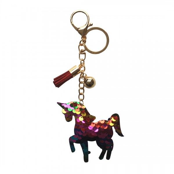 ACC- Sequin Unicorn Tassel Handbag Charm Keyring - Red