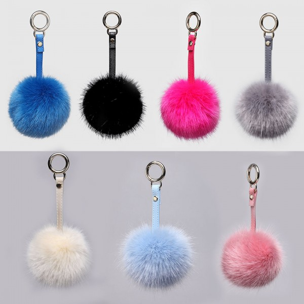B002 - Faux Fur Pom Pom Keyring Plain Color