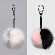 B002 - Faux Fur Pom Pom Keyring  Dual-Color