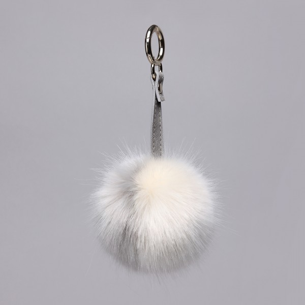 B002 - Faux Fur Pom Pom Keyring  Dual-Color