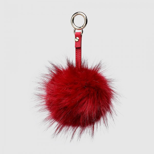 B003 - Faux Long Fur Pompom Keyring Large