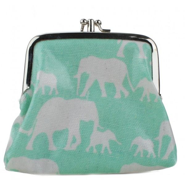 Coin Purse Oilcloth Elephant Blue